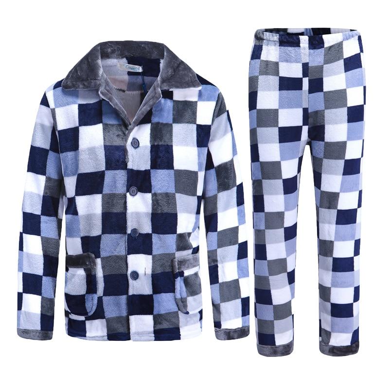 Winter Pajamas Sleepwear Flannel Warm Suit Clothing Sleep-L-Xxxl Home For Men Thick 2pcs