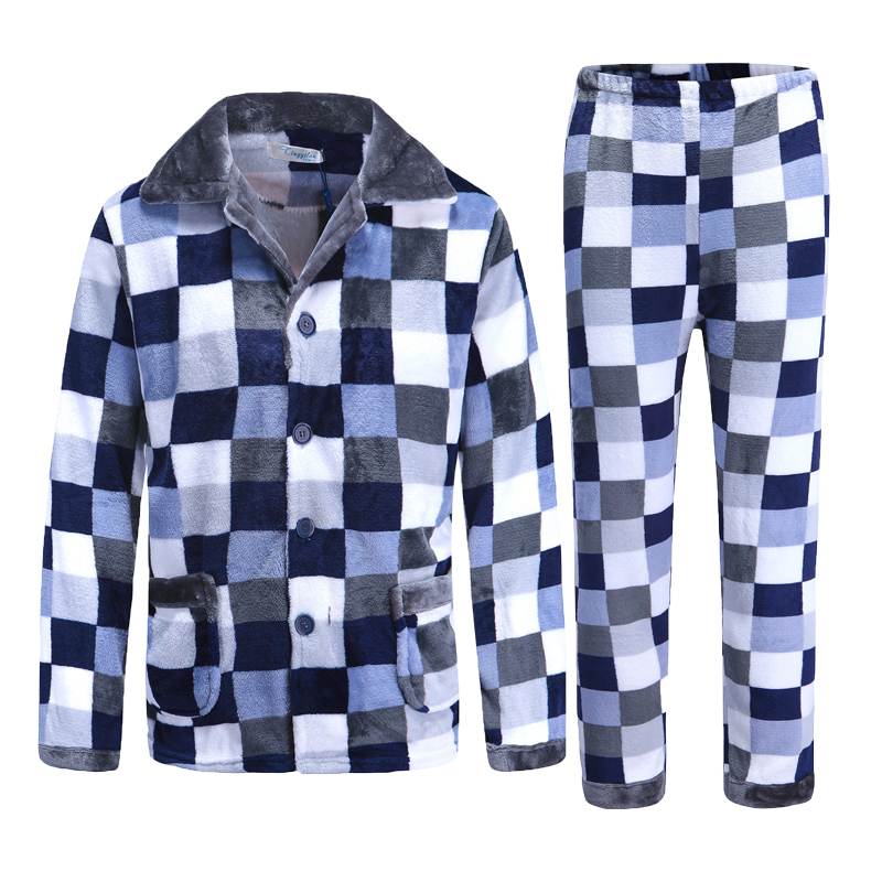 2019 Winter Pajamas For Men Thick Flannel Sleepwear Suit 2 Pcs Pyjama Homme Warm Casual Home Clothing Pijama Hombre Sleep L-XXXL