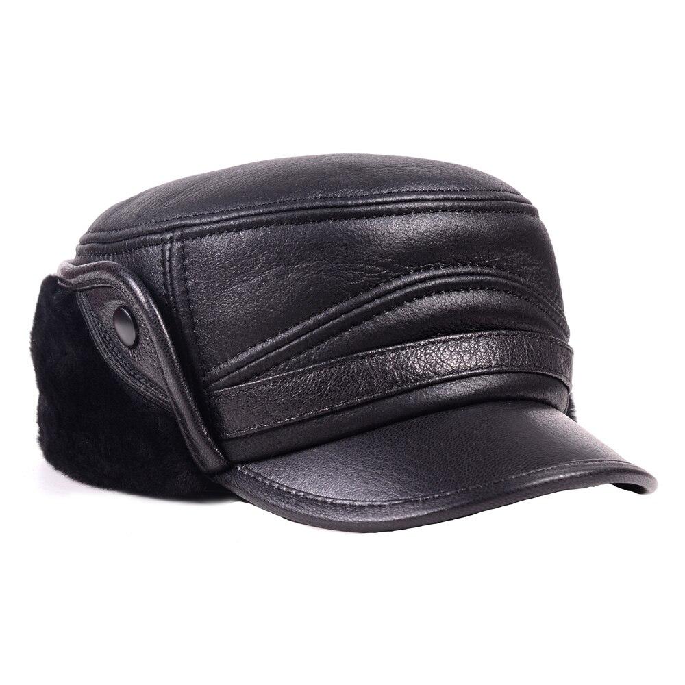 Homme 100% réel fourrure hiver chaud personnes âgées chapeau casque casquette casquette armée béret gavroche chapeaux/casquettes