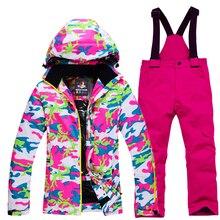 Детский зимний костюм комплекты для сноуборда Водонепроницаемая зимняя спортивная одежда для улицы Лыжная куртка и зимние штаны на подтяжках, костюм для мальчиков и девочек
