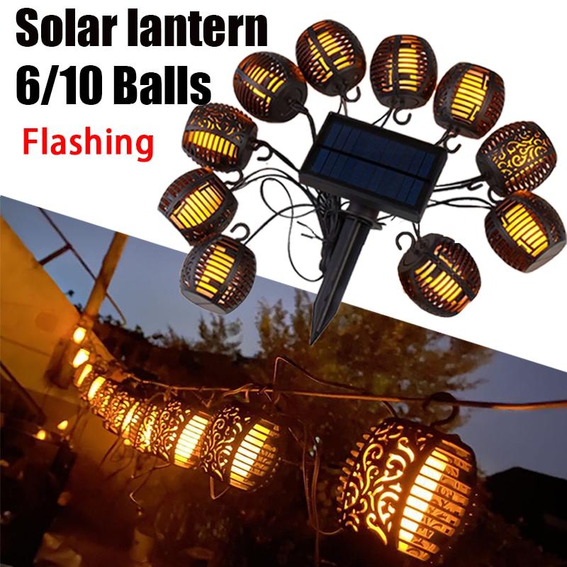 Outdoor Solar Lanterns Garden LED String Lights Solar Lamps Waterproof Hanging Lantern Decoration Patio Flickering Flame Lights