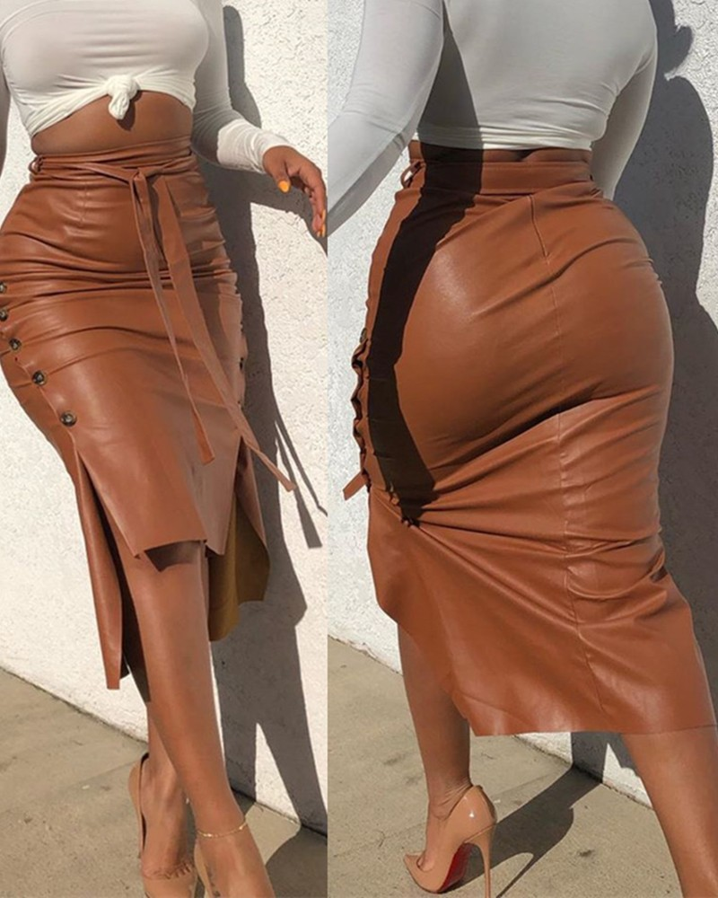 Women Trendy PU Leather Midi Skirt Solid Color High Waist Lace-up Side Button Slim Skinny Pencil Skirt for Ladies Streetwear 1