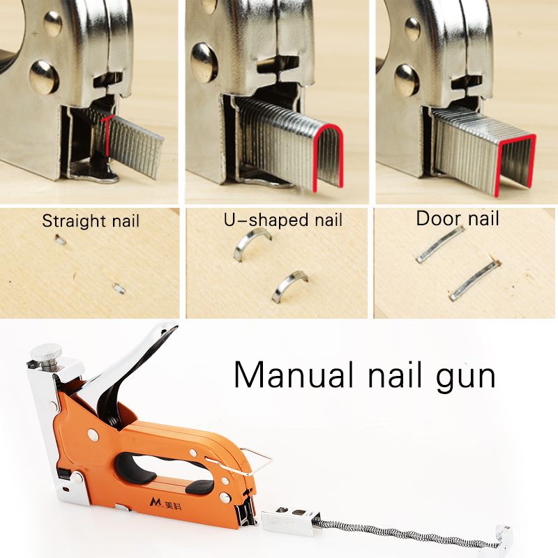 Durable Nail Staple Gun Metal Orange Home Improvement Carpentry Multifunction Doornail Tool Parts Woodworking Wooden Door