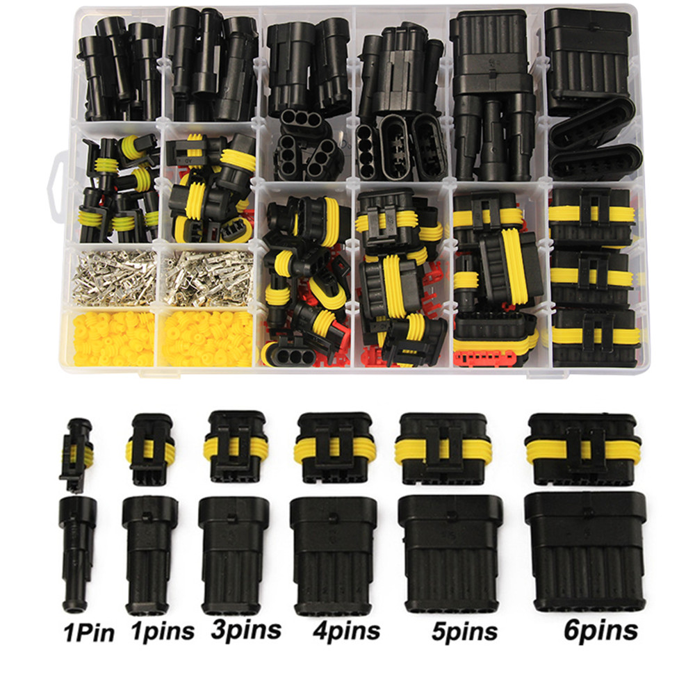 708PCS 1-6Pins HID Waterproof Connectors 43 Sets Car Marine Seal Electrical Wire Connector Plug Truck Harness 300V 12A