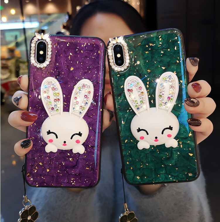 <font><b>case</b></font> for <font><b>iPhone</b></font> 11 <font><b>XR</b></font> 7 8 11 Pro Max X XS Max Plus 6 6s cover gold foil Rhinestone rabbit Finger ring(without <font><b>belt</b></font>) image