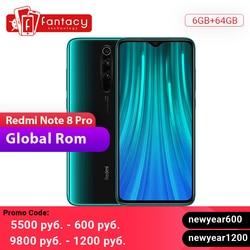 Global ROM Xiaomi Redmi Note 8 Pro 6GB 64GB 64 MP Quad Camera MTK Helio G90T Smartphone 6.53 ''FHD + 4500mAh 18W QC 3.0