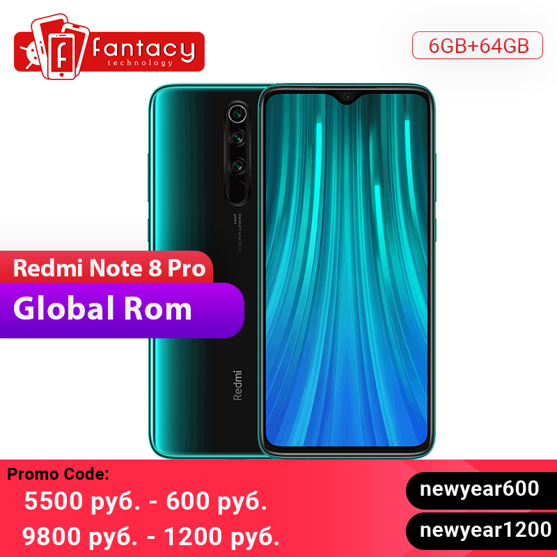 Global ROM Xiaomi Redmi Note 8 Pro 6GB 64GB 64 MP Quad Cameras MTK Helio G90T Smartphone 6.53'' FHD+ 4500mAh 18W QC 3.0