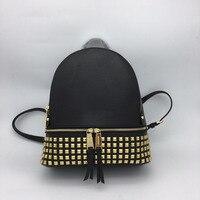 fashion genuine leather rivet backpack women black softback travel back pack fashion bag 26/31/13cm
