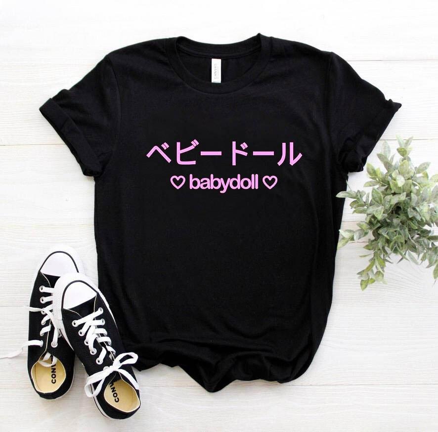 Babydoll japonés Rosa letras imprimir mujer camiseta Casual algodón Hipster divertida camiseta para chica superior Tee 8 colores Drop Ship BA-201
