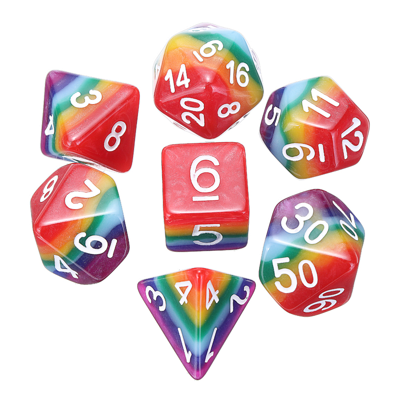 7Pcs/Set Resin Rainbow Dice Polyhedral Digital Dice With Bag For DND RPG MTG Role Playing Game New Dice