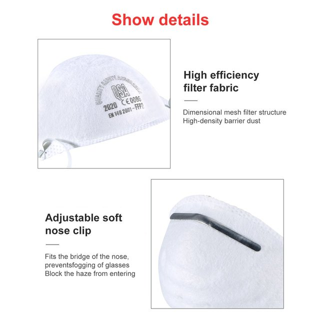 1/5/10pcs Anti-fog headband FFP2 grade round mask non-woven Dust Mask Anti-Haze Flu, Anti-PM2.5 Protective Mask 4