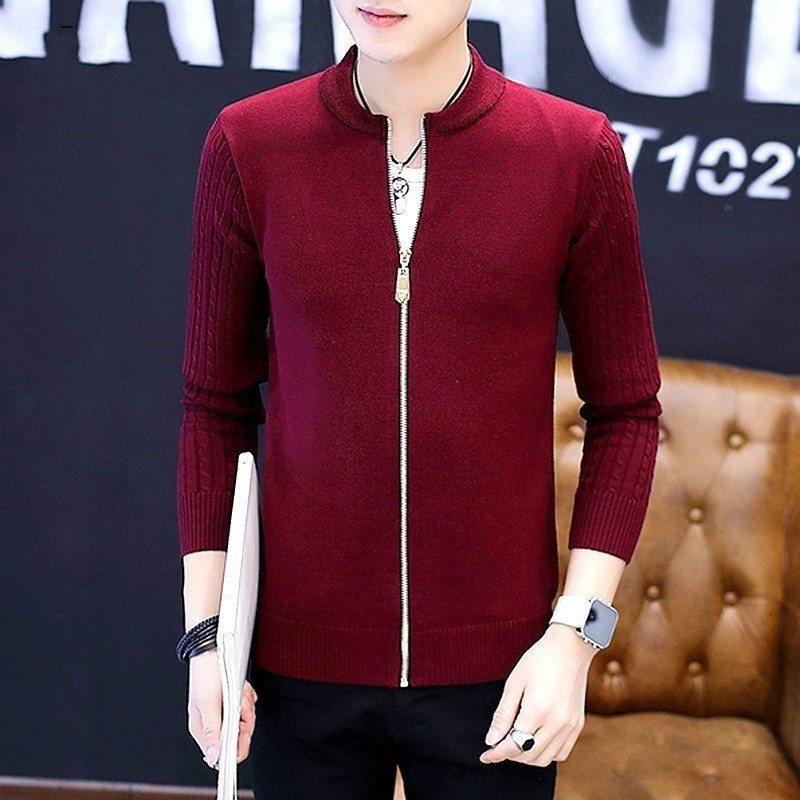 Fashion Striped Knitted Jacket Men College Style Slim Casual Cardigan Sweater Stand Collar Male Spring Sweater Bomber Outerwear