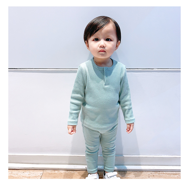 Soft Ribbed Toddler Girl Pajamas For Baby Boys Clothes Set Autumn Winter Children Outfits Long Sleeve Tops Pants 2 Pcs Kids Suit (24)