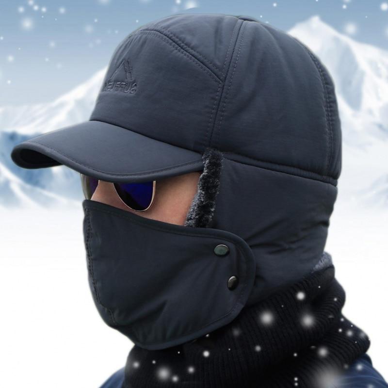 Sombrero cálido a prueba de viento para hombre y mujer, gorro de piel sintética con solapa para la oreja de gorro de Lei Feng, cazador de tropas de esquí, gorra contra la nieve fría, color negro, para invierno