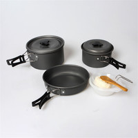 2 3 People Portable Outdoor Camping Cookware Set Alumina Cooking Kit Cookware Folding Cookware Camping Hiking Picnic Cooker