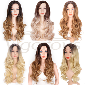 Vigorous Long Ombre Brown Blonde Wavy Wig Natural Hair Part Synthetic Wigs for Women Glueless Cosplay Heat Resistant Party Wig 6
