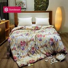 Sondeson Flower Sea 100% Silk Warm Comforter/Blanket/Quilt/Duvet For Summer Winter Queen King Printed Bedding Free Shipping