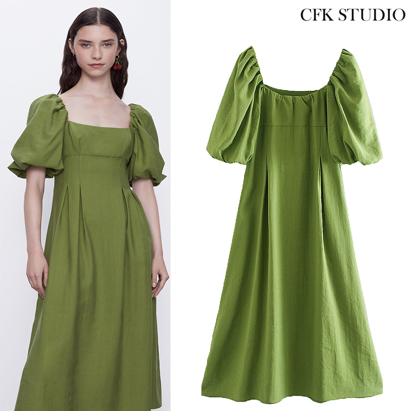Women Mididress With Slash Neck Puff Short Sleeve Solid Casual Loose Dress Femme Elegant Party Green A-line Long Dress