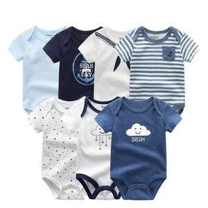 Image 1 - Baby Mädchen Kleidung Baumwolle Neugeborenen Jungen Baby Strampler 7 Teile/lose Kurzarm Kleinkind Kostüm Cartoon Baby Onesie Overall