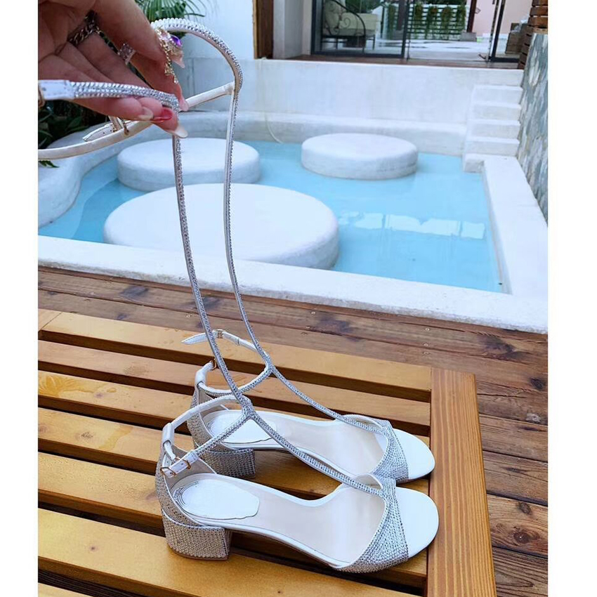 Летние блестящие сандалии с кристаллами; женская обувь до колена с Т образным ремешком; пикантные женские сандалии гладиаторы на высоком ка... - 5