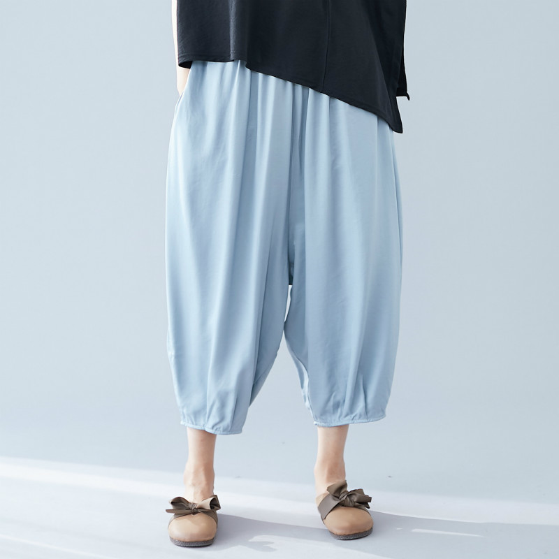 Women's Summer   Pants     Capris   Loose Casual Elastic Waist Solid Color Vintage Harem Calf-Length   Pants