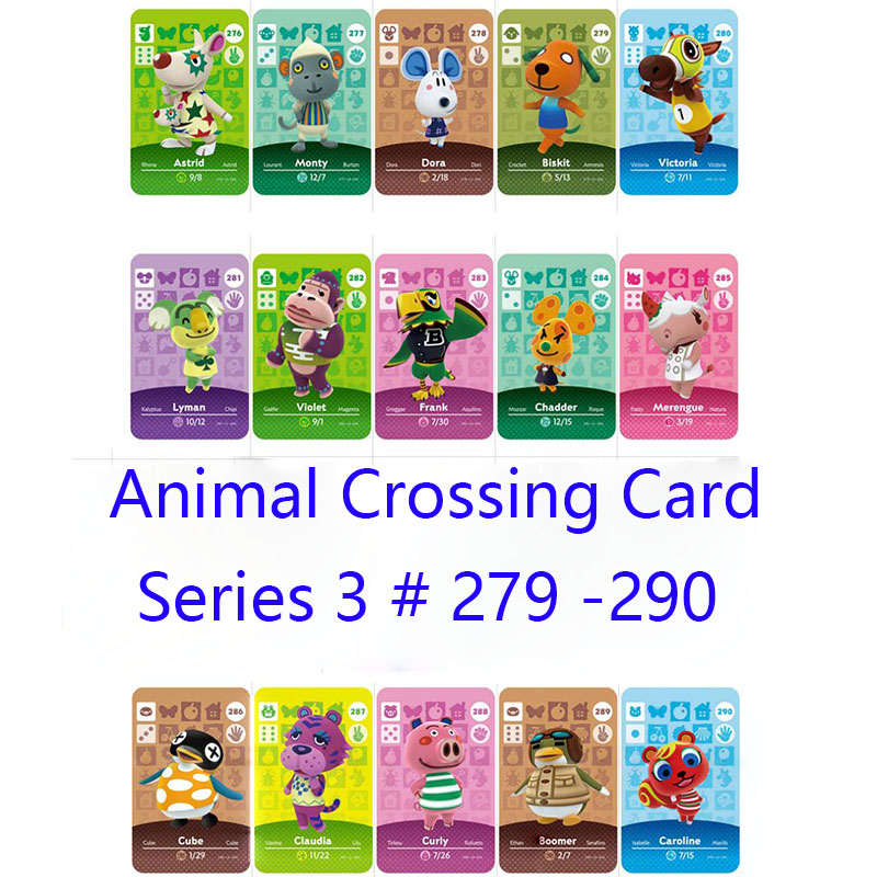 Series 3 (279 To 290) Animal Crossing Card Amiibo Cards Locks Nfc Card Work For Switch NS Games Series 3 (279 To 290)