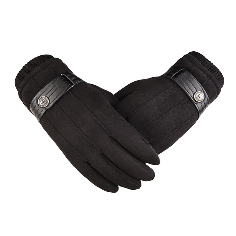 Men Winter Gloves Warm Faux Suede Leather Mittens Touch Gloves Thicken Motorcycle Ski Anti-Slip Mittens