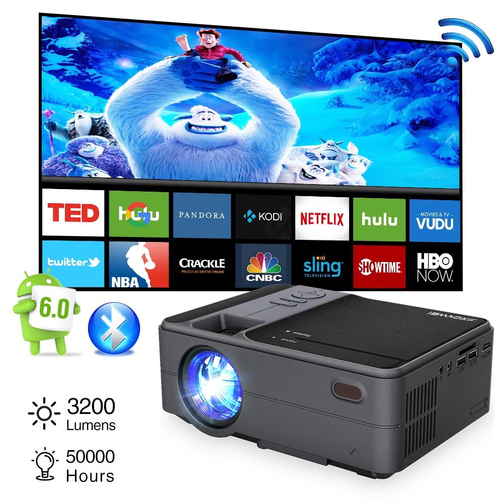 Wifi Portable projecteur LED bluetooth sans fil intelligent Android 3200 Lumen maison en plein air film jeu avec HDMI USB VGA AV SD