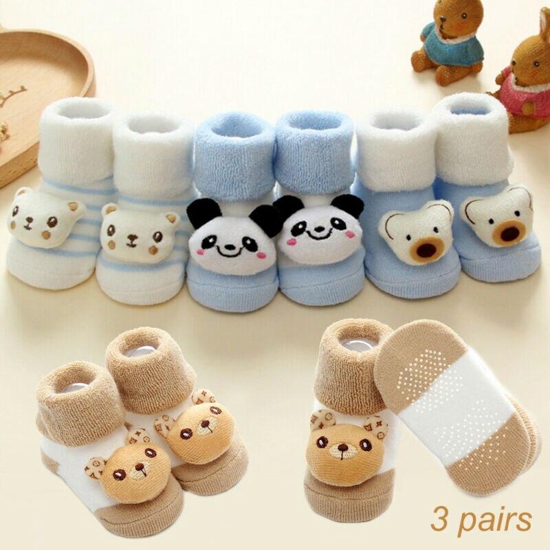 Imcute Baby Spring Autumn Fashion 3Pair/Bags Cute Baby Girl Boy Anti-slip Socks Cartoon Newborn Slipper Shoes Boots 0-18Month