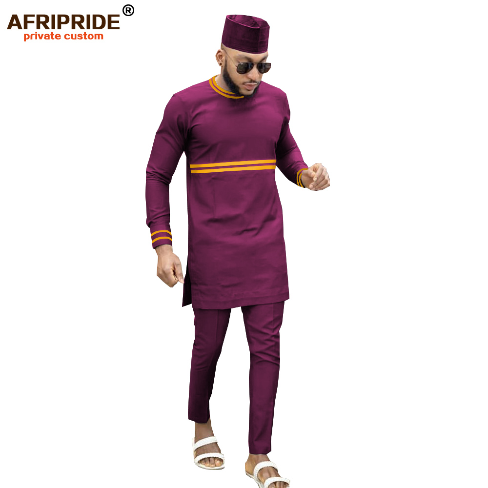2019 African Men Clothing Traditional 3 Piece Set Dashiki Outfits Print Shirts+Ankara Pants And Hat Suit AFRIPRIDE A1916013