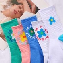 Moda feminina meias beleza flor golfe médio tubo meias senhoras harajuku meias doce meninas macio algodão respirável meias nova quente