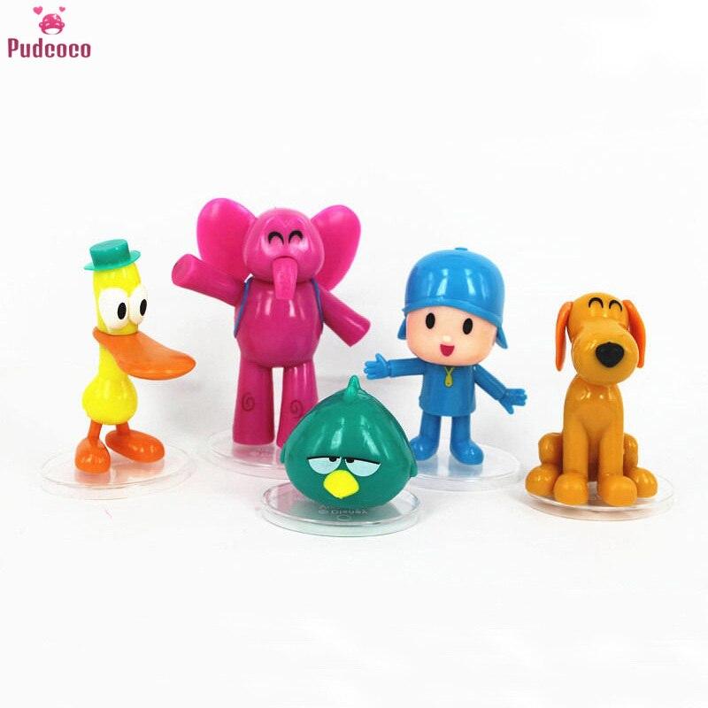 5pcs/set Cartoon Anime Pocoyo Zinkia Pato Loula Pocoyo Elly Sleep Birds Toys Action Figures Kids Unisex Xmas Gift Toys