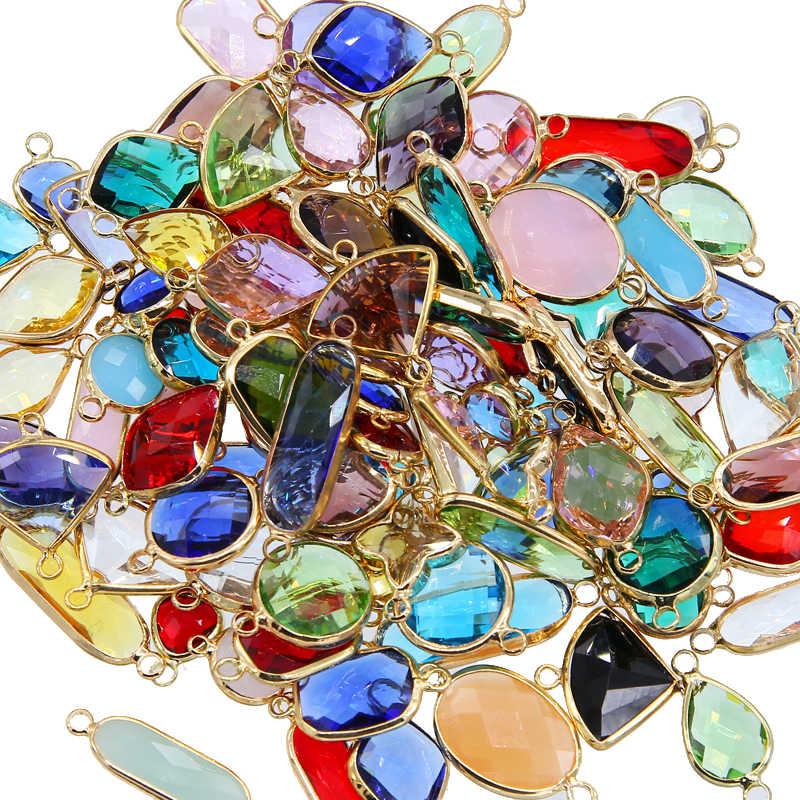 10pcs מעורב זהב כפול חור עגול מוראנו רב פיאות זכוכית קריסטל חרוזים DIY עגיל מחבר בעבודת יד תכשיטים מציאת