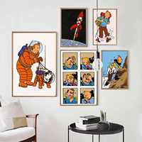French Comics Adventures of Tintin Canvas Painting Vintage Kraft Posters Classic Wall Stickers Wall Art For Nursery Kids Bedroom