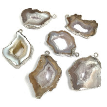 Natural Stone Jewelry Silver Plating Crystal Pendant Quartz Agates Pendants Agates Slices Charms Pendants Fit Necklace Jewelry(China)