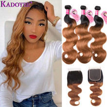 """Ombre Body Wave Human Hair Bundles With Closure 4pcs/lot Brazilian Hair Weave Bundles With Closure Remy Hair Extension 8"""" 26"""""""