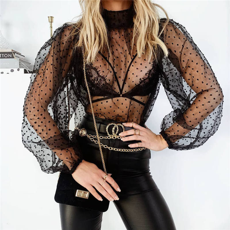 Fashion Women Summer Lantern Sleeve Blouse Turtleneck Dotted Mesh Tulle Top Sexy Polka Dot See-Through Top