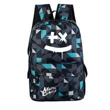 Bolso escolar de algodón caramelo música electrónica DJ-estilo mochila hombres y mujeres bolso Multi bolsillo bolsa grande de moda impresión de