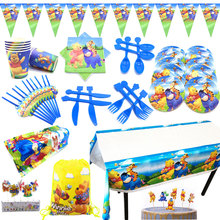 цена на Disney Winnie The Pooh Theme Birthday Party Supplies Decorations For Kids Family Party Winnie The Pooh Banner Plates Cup Straws