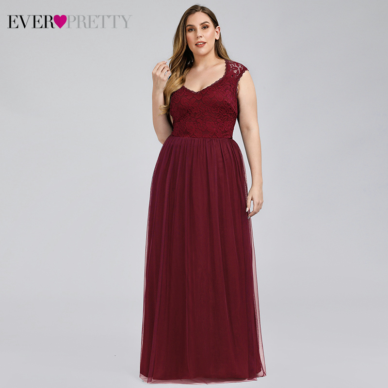 Plus Size Bridesmaid Dresses Ever Pretty EP07509 Lace V-Neck Sleeveless See-Through Tulle Wedding Party Gowns Vestido De Noiva
