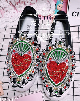 2019 new luxury heavy-duty rhinestones with beaded flat shoes fashion trend exclusive casual shoes women's shoes