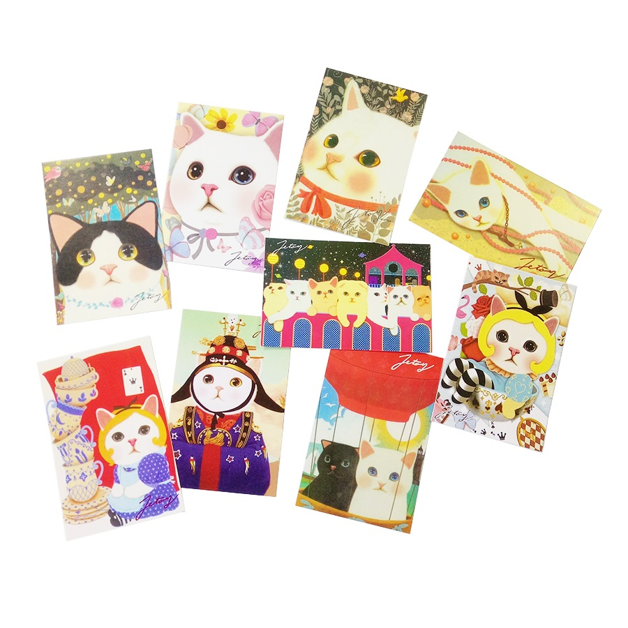 10Pcs/lot Kawaii Cartoon Cats Postcards Group Card New Year Party Greeting Card  Gift