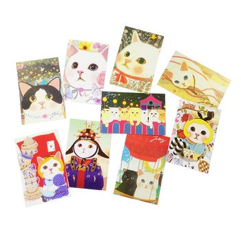 10Pcs/lot kawaii Cartoon Cats Postcards Group Card New Year party Greeting  Gift - discount item  49% OFF Printing Products