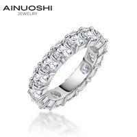 AINUOSHI Cushion Cut Sona Simulated Diamond Full Eternity Rings Anniversary Rings Wedding Band Ring For Women