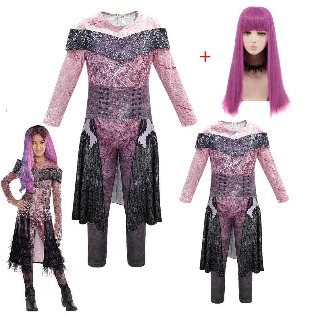 Halloween Costume For Kids Women Descendants 3 Mal Bertha Maleficent Audrey Cosplay Costume Carnival Clothes Jumpsuits For Girl