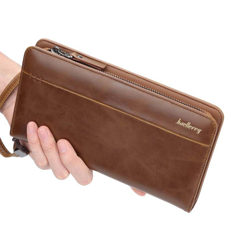 Men's Wallet  With Strap Fashion Men Purse Zipper Bussiness Clutch Wallet Large Capacity Phone Bag Long Passport Travel Wallet