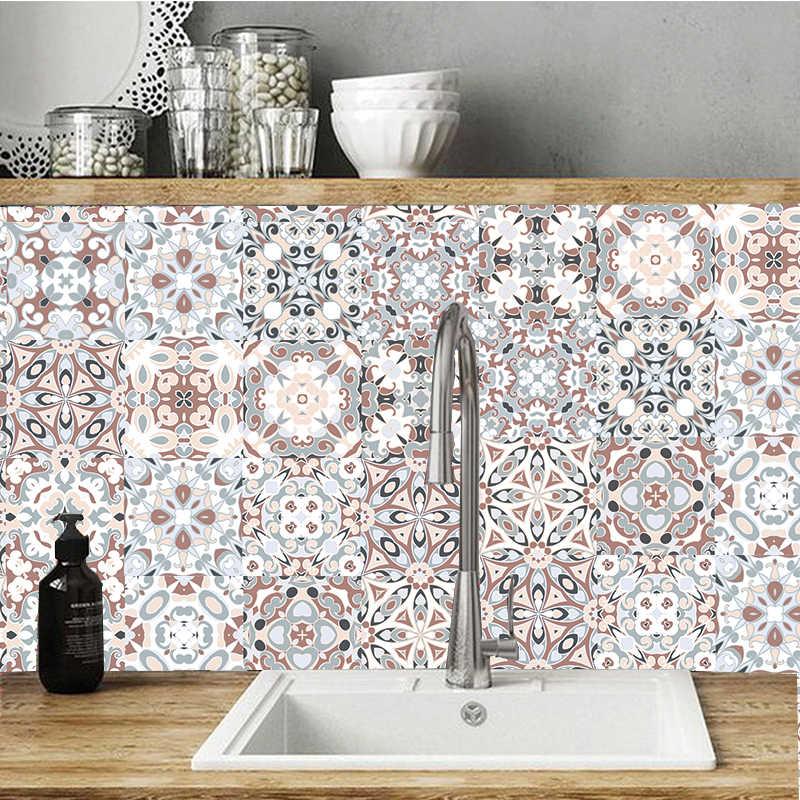 Tiếng Ả Rập Phong Cách Mosaic Ốp Dán Cho Phòng Khách Nhà Bếp Retro 3D Chống Nước Bức Tranh Tường Decal Dán Phòng Tắm Trang Trí DIY Dán Giấy Dán Tường