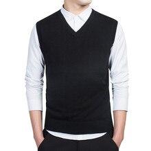 Algodón jerseys chaleco suéter otoño cuello en V Slim chaleco jersey de los hombres suéter sin mangas de Estilo Delgado Casual M-3xl