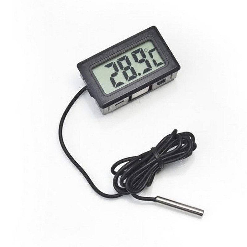 New LCD Thermometer Temperature Digital For Bathroom Water Temperature Fridges Freezers Coolers Chillers Mini 1M Probe Black