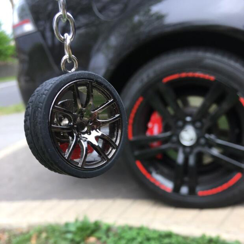 Hot RIM Car wheel Turbo keychain key ring with Brake discs Car Tire Wheel Keychain Auto Car Key Chain Keyring For BMW Audi(China)